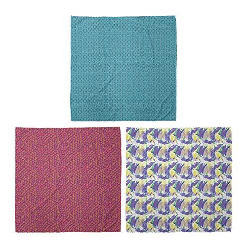 ABAKUHAUS Unisex Bandana, Moderne Triangular Motive Fisch-Skala Artwellen Brushstroke Pastellfarben, 3er Pack, Mehrfarbig