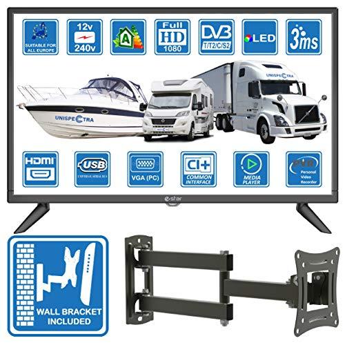 Wohnmobil Wohnwagen Boot 12 und 220 Volt 24 Zoll 61cm LED FHD Digitalfernseher Terrestrisch/Kabel/ Satellitenfernsehen USB PVR & Media Player, VGA & HDMI von Unispectra® (DVB-T2/C/S2 + Wandhalterung)