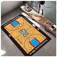 76人屋内パーソナライズされたバスケットボールカーペット、プリントバスケットボールパターンマットドアマットキッチンマット研究ベッドサイドクッション茶テーブルカーペットリビングルームラグ black-80x120cm