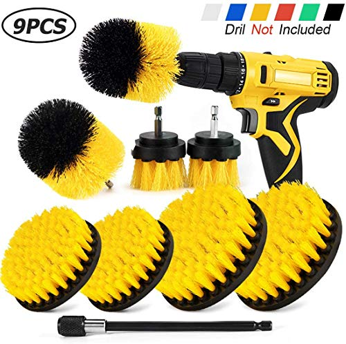SHIELDPRO Drill Brush Attachment Set,Power Cleaning Scrub Brush,All Purpose Drill Brushes with Extend Long Attachment for Bathroom and Kitchen Surface,Grout,Tub,Shower,Tile,Corners, Automotive-Yellow
