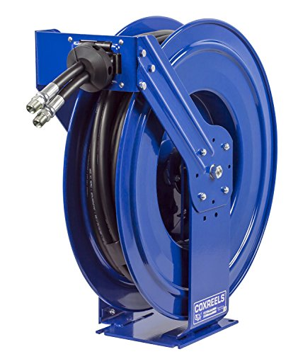 Coxreels TDMP-N-450 Dual Hydraulic Hose Spring Rewind Hose Reel for Hydraulic Oil: 1/2' I.D, 50' Hose, 2500 PSI