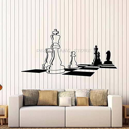 Calcomanía de vinilo para pared Tablero de ajedrez Tablero de ajedrez Negro Blanco Juego intelectual Pegatinas de pared Dormitorio Sala de estar Decoración del hogar Arte Mural 1476