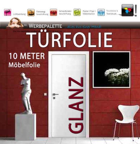 De reclameette (EUR 5,24 / vierkante meter) 10 meter x 122 cm deurfolie hoogglans deco plotterfolie + wit + kleeffolie