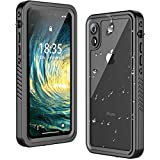 Temdan iPhone XR Case Waterproof,Clear Sound Quality Built in Screen Protector Heavy Duty IP68 Waterproof Support Wireless Charging Shockproof case for iPhone XR 6.1inch Black/Clear