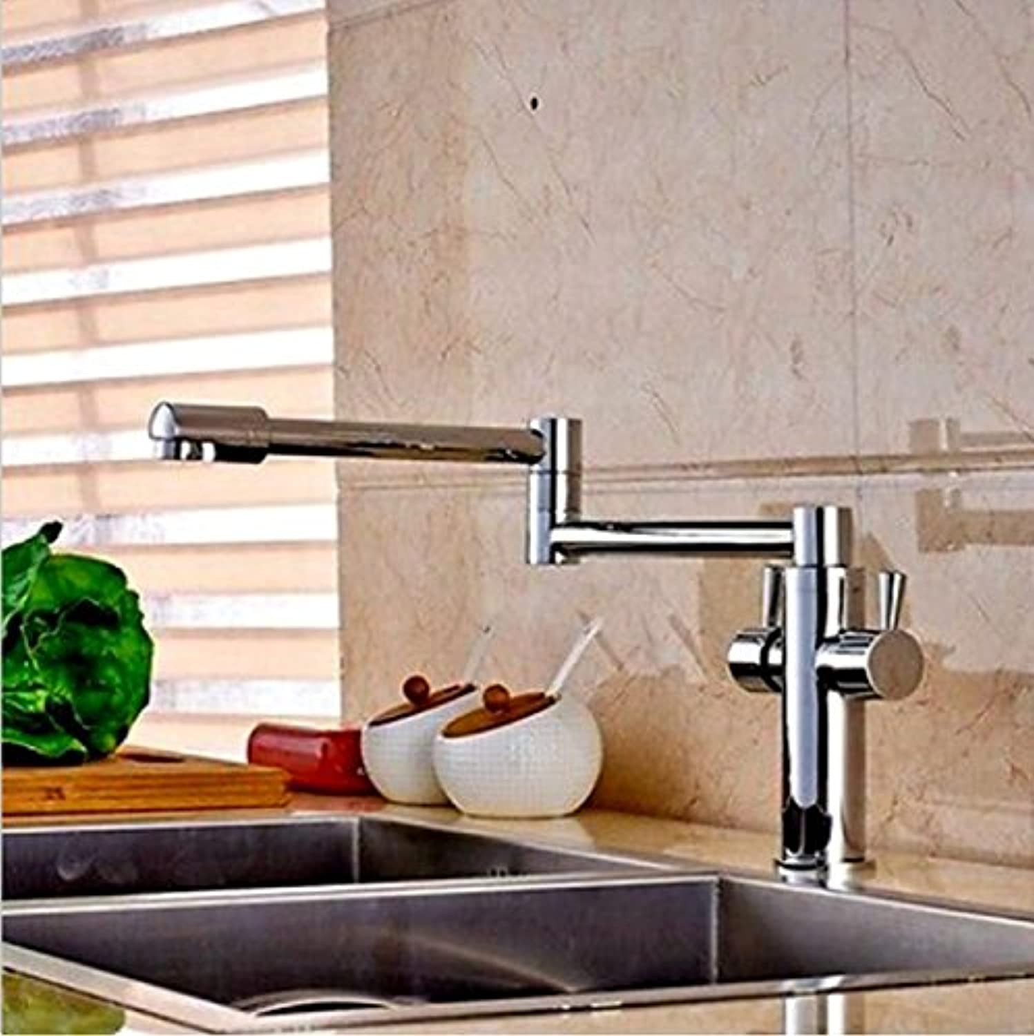 Aawang Deck Mounted Long Spout Extending Kitchen Faucets Chrome Brass Two Handle One Hole Mixer Tap