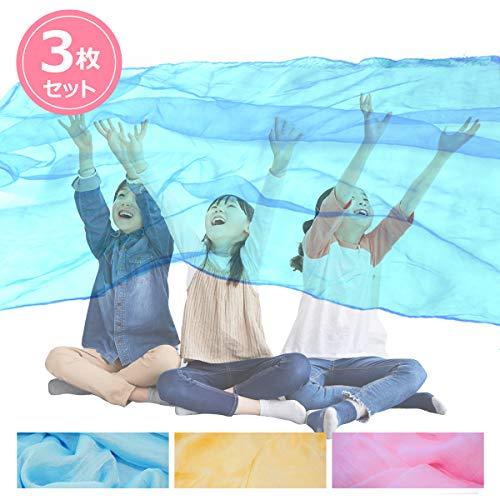 Across(アクロース)リトミック 大判シフォンスカーフ ジャンボスカーフ 140×220cm (3枚セット(水色・黄色・ピンク))