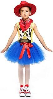 HIHCBF Handmade Cowgirl Tutu Dress Jessie Costume Halloween Christmas Carnival Dress Up Outfits w/Bandana and Cowboy Hat