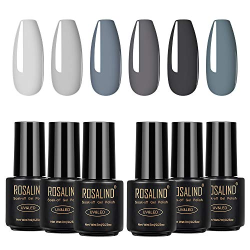 ROSALIND Esmaltes Semipermanentes, 6 Colores Gris Pintauñas Semipermanente Kit de Esmalte de Uñas en Gel UV LED 7ml