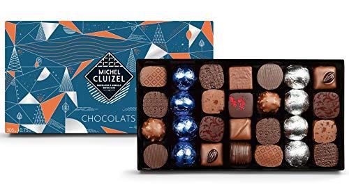 Michel Cluizel Weihnachtsgeschenkbox 28 Hergestellte Pralinen Dunkle und Milchschokolade - 1 x 305 Gramm