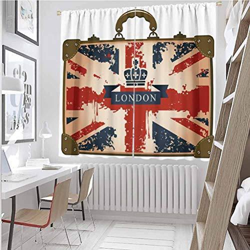 Toopeek Union Jack - Maleta de viaje con bandera británica de Londres y corona, tela impermeable de 52 x 36 pulgadas, color azul oscuro, rojo y marrón