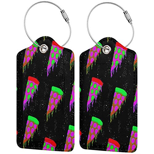 Colorful Trippy Pizza Luggage Tags Leather Travel Suitcases Id Identifier Baggage Label Card Holder.