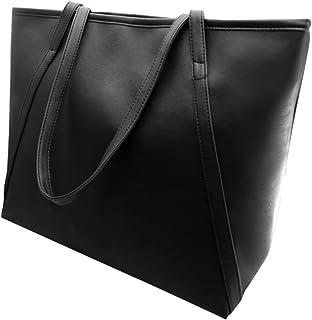 ludonie Women Faux Leather Handbag Solid Color Tote Bag Zipper Big Fashion Shoulder Bag Casual Women's Bags