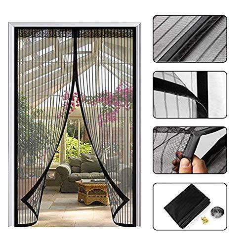HTDG Magnetisch vliegengaas voor deuren, compleet magnetisch, ingeklapt door Sola, voorkomt oprit, ideaal voor deuren op balkon, kantine, terras, eenvoudige montage