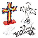 """Baker Ross Suncatcher """"Kreuz"""" für Kinder zum Aufstellen zum Basteln und Verzieren zu Ostern (4 Stück)"""