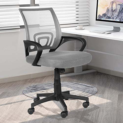Desk Chair - Ergonomic Home Office Chair with Lumbar Support & Adjustable Height, Swivel Office Computer Chair Mid-Back Mesh Task Chair(Grey)