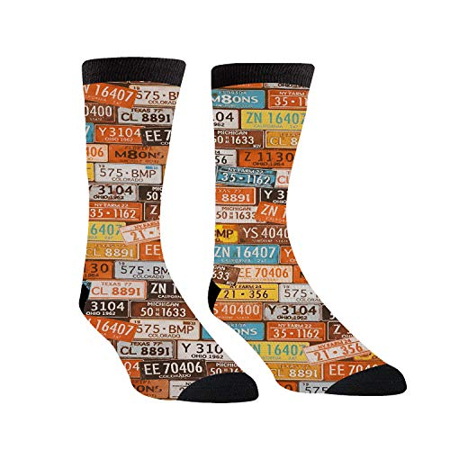 Compression Socks Connection Of Iron License Plate Number Crew Socks for Women & Men Best for Athletic, Running, Flight, Travel, Nurses,Edema