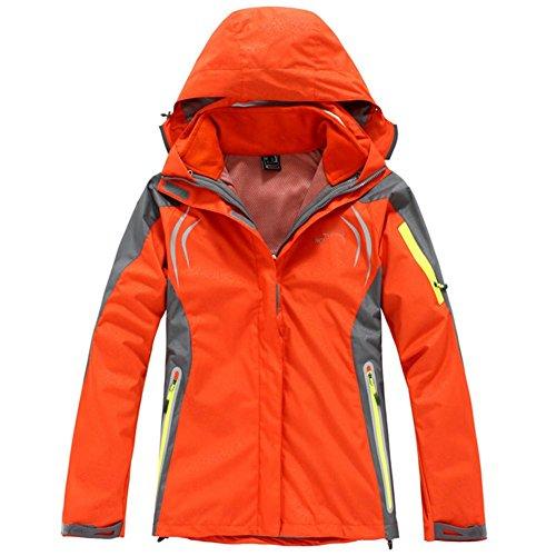 Classic Mode Dames d'hiver Vestes d'extérieur Polaire démolition Deux Ensembles de vêtements d'alpinisme Veste Chaude, Orange, XXXL