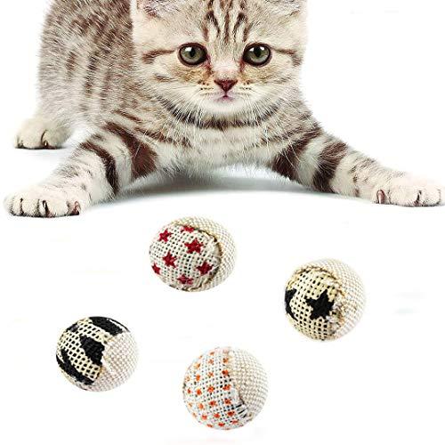 FayTun Katzenspielzeugbälle, interaktives Katzenspielzeug, 4 Stück Katzenspielzeug, Spielball für Katzen, Kätzchen.