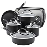 Circulon Symmetry Hard Anodized Nonstick Cookware Pots and Pans Set, 11-Piece w/Bakeware, Black