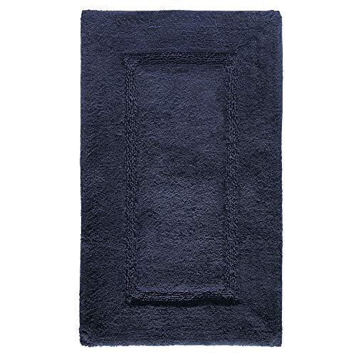 Price comparison product image iDesign Spa Bathroom Mat,  Rectangle-Shaped Small Rug Made of Cotton,  Navy Blue,  53.3 cm x 86.4 cm