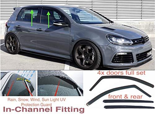 AC WOW 4 Windabweiser kompatibel mit VW Volkswagen Golf 6 MK6 5-Türer 2008 2009 2010 2011 2012 2013 Acrylglas PMMA Tür Fenster in Kanal Visiere Regen Schnee Sonne Wetterschutz