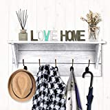 Rustic Coat Rack Wall Mounted,Wall Coat Hooks with 2 DIY Decorations Entryway Coat Racks Shelf 24'' with 5 Bronze Hooks Wooden Country Style(White)