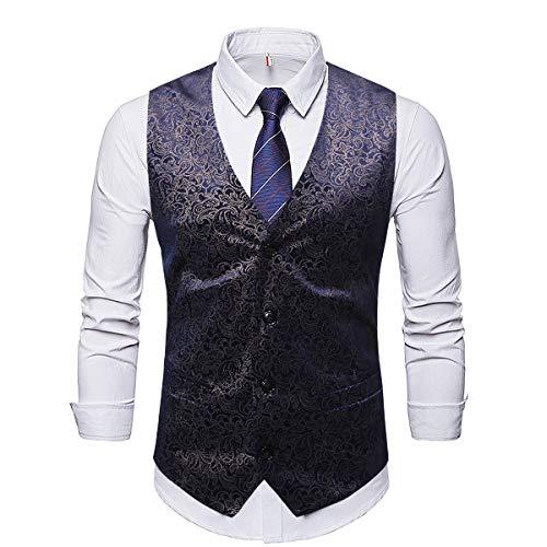 OVERMAL Homme Homme Gilet Imprimé Single-Breasted Classique sans Manches Veste de Costume Gilets Parti Formal Waistcoat Suit Vest