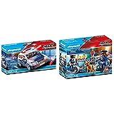 Playmobil City Action Playset, Coche De Policía con Luces Y Sonido, Multicolor (6920) + City Action Control De Policía, A Partir De 5 Años (6924)