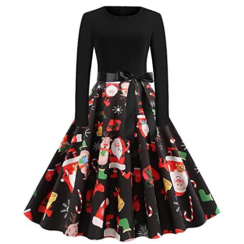 AOCRD Vestido de Navidad para mujer, de encaje, de noche, con cuello redondo, manga larga, elegante, cintura alta, estilo Hepburn, vestido de cóctel, fiesta, festival, Xmas, Negro , XXL