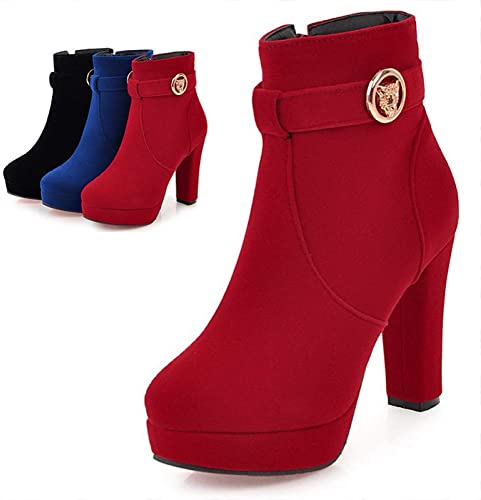 ZHRUI Stiefel para damen  Calidez de Invierno con schuhe para damen Cremallera Lateral Stiefel de tacón Alto Stiefel de Novia Rojas 33-43 (Farbe   rot, tamaño   41)