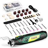 Cordless Rotary Tool, 4V Rotary Tool Kit with 53 Accessories, 5-Variable Speed, Electric Drill Set for Crafting, Cutting, Carving, Sanding, Polishing- Shield Attachment, USB-C