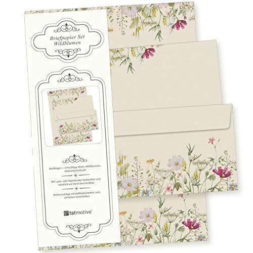 Wildblumen Briefpapier Set 25 Sets DIN A4 90 g/qm, mit Umschlag - nachhaltig gedruckt