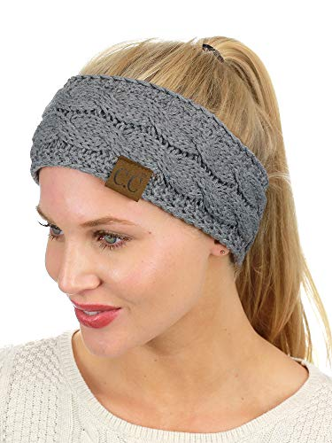 C.C Soft Stretch Winter Warm Cable Knit Fuzzy Lined Ear Warmer Headband, Light Melange Gray