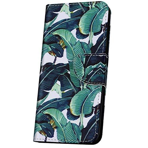 JAWSEU Telefoonhoes iPhone 11 Beschermhoes PU Leather Portefeuille Flip Case Cover,veer vogel patroon Groen bananenblaadjes
