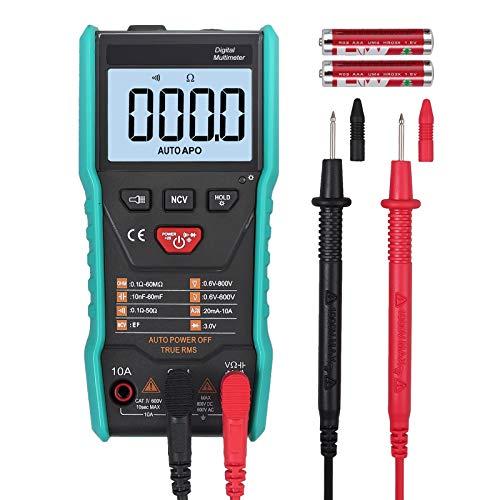 Neoteck Multímetro Digital Automático 6000 Cuentas NCV Inteligente Automático Rango AC/DC Voltímetro Amperímetro Ohmímetro Capacitancia de Resistencia con Linterna sin Cambio