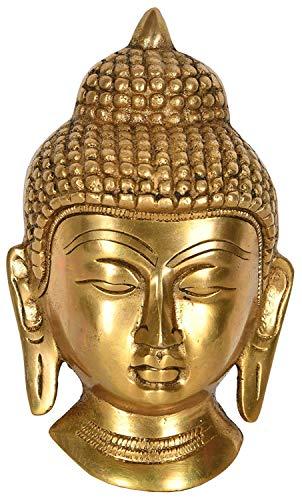 Indian Accent Buddha Wall Hanging Mask Handmade Brass Sculpture 5' Height