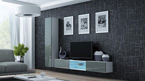 Jadella Wohnwand \' Vigo 21\' Hochglanz Hängeschrank Lowboard Cube, Farbe:Weiß Grau