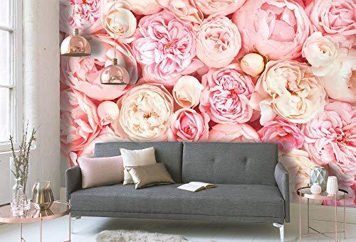 WALL-ART 3D Fototapete Rosen Rosa Schlafzimmer Tapeten Ideen XXL Wand Dekoration floral Vintage Tapete Blumen 3,50m x 2,55m