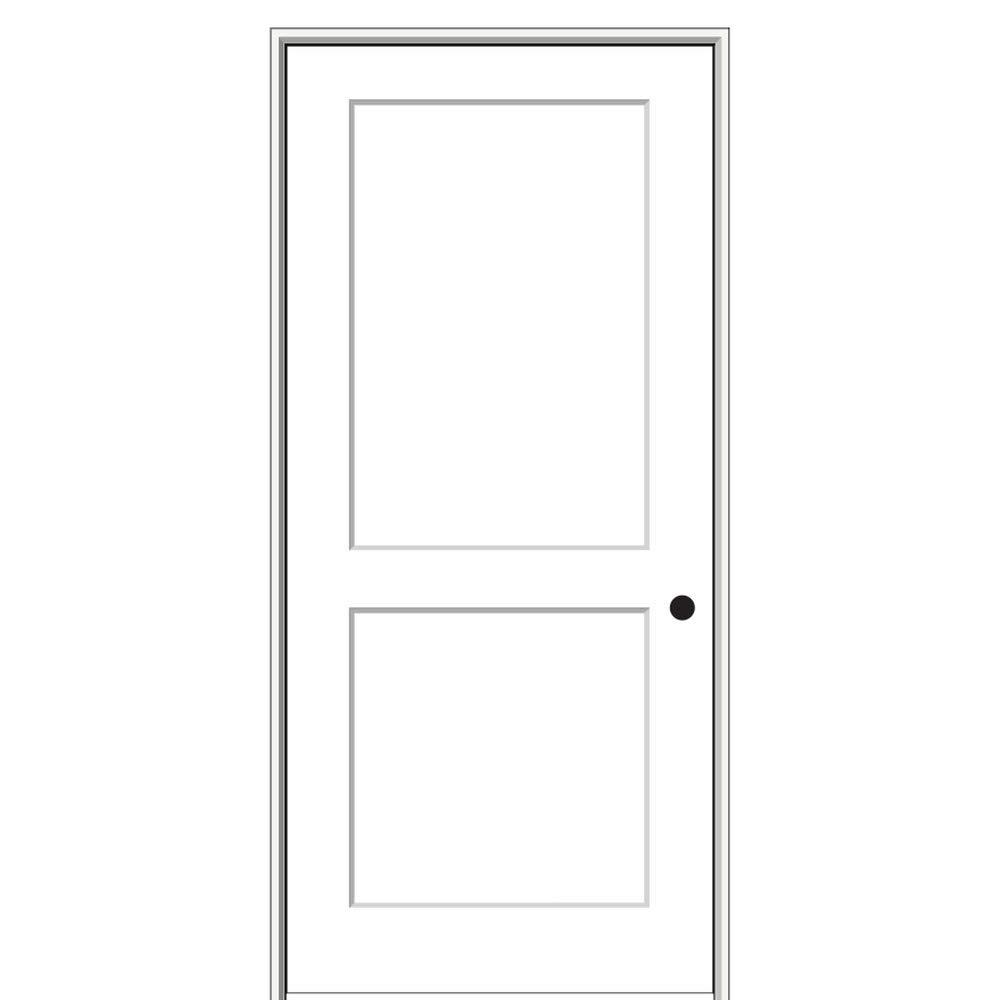 National Door Company ZZ364467L Solid Core, Molded, Craftsman 2-Panel Flat, Left Hand, Prehung Interior Door, 24