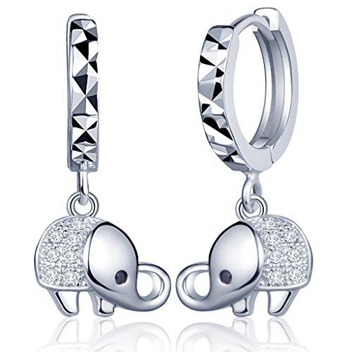 Yumilok Pendientes de Plata de Ley 925 Circonita Elefante Pendientes de Aros Hipoalergénico Para Mujer Mujeres Niña