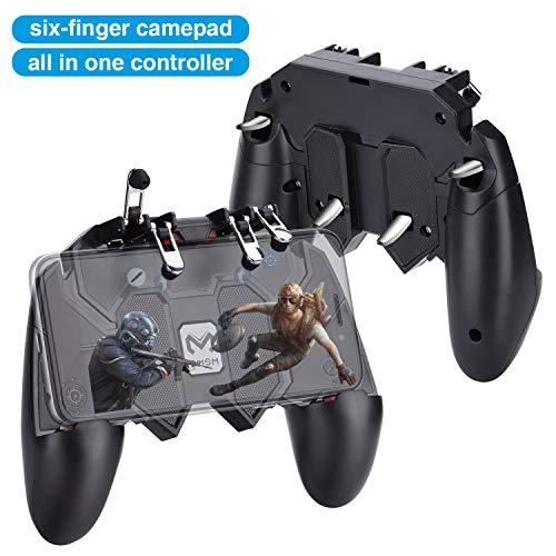 HEYSTOP AK66 Controller di Gioco all-in-One a Sei Dita,Regolabile L1 R1 Trigger per PUBG Joystick Handle Grip Sensitive Shoot,Controller Mobile per iOS e Android Gioco Vario (4 Trigger)