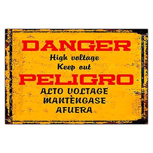 Cartel de metal personalizado con peligro de alto voltaje, estilo vintage, para decoración de jardín, rectangular, de aluminio, fácil de montar, amarillo, 30,5 x 20,3 cm