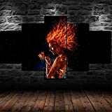 YHUJIK Cuadros Decor Salon Modernos 5 Piezas Lienzo Grandes Película de X-Men Dark Fire Phoenix 5 Cuadros De Arte Lienzo modulares Listo para Colgar (con Marco) 150x80cm