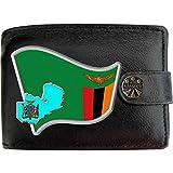 Zambie Drapeau Carte Armoiries Klassek Portefeuille Homme Vrai Cuir Noir RFID Blocage Poche à Monnaie avec Boîte en Métal