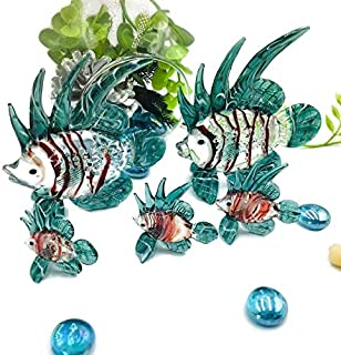 I-DO-CARE مائي حيوانات البحر المائية الزجاج التماثيل فن وزن الورق والنحت الزجاج الفن الأسماك تانك 5 قطع / مجموعة زخرفة الم...