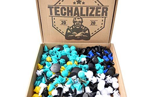 Techalizer 500Stk. Befestigung Clips 30 versch. Sorten, Kunststoffniet, Blechklammer, Plastik Schrauben, Für Verkleidung, Stoßstangen universal