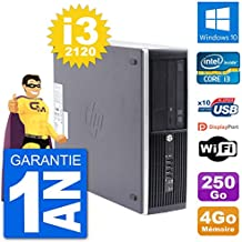 HP PC Compaq Pro 6300 SFF Intel i3-2120 - Memoria RAM de 4 GB (250 GB, Windows 10, Wi-Fi)