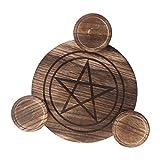 geneic Portavelas de madera para astrología, pentáculo, altar de...