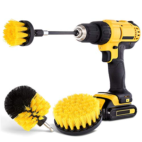HIWARE Drill Brush Attachment Set - Power Scrubber Brush Cleaning Kit - All Purpose Drill Brush with Extend Attachment for Bathroom Surfaces, Grout, Floor, Tub, Shower, Tile, Corners, Kitchen and Car