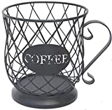 PeiSean Coffee Pod Holder, coffee holders for counter,Coffee Organizer,Large Capacity K Cup Storage Basket with Iron Base